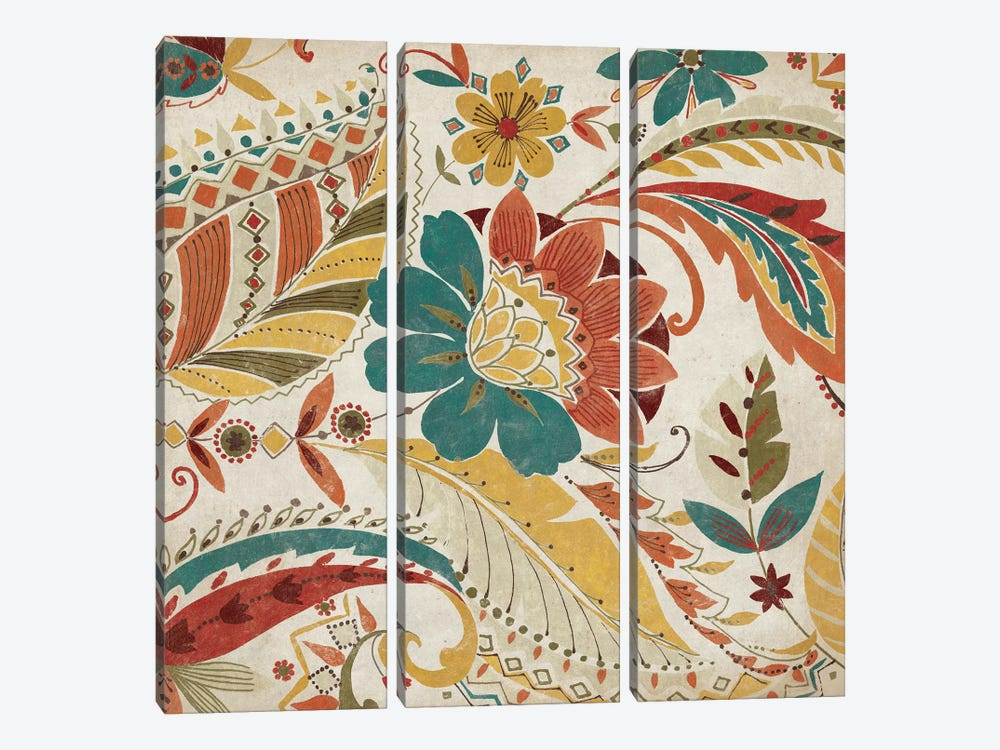 Boho Paisley Spice I by Wild Apple Portfolio 3-piece Canvas Art Print