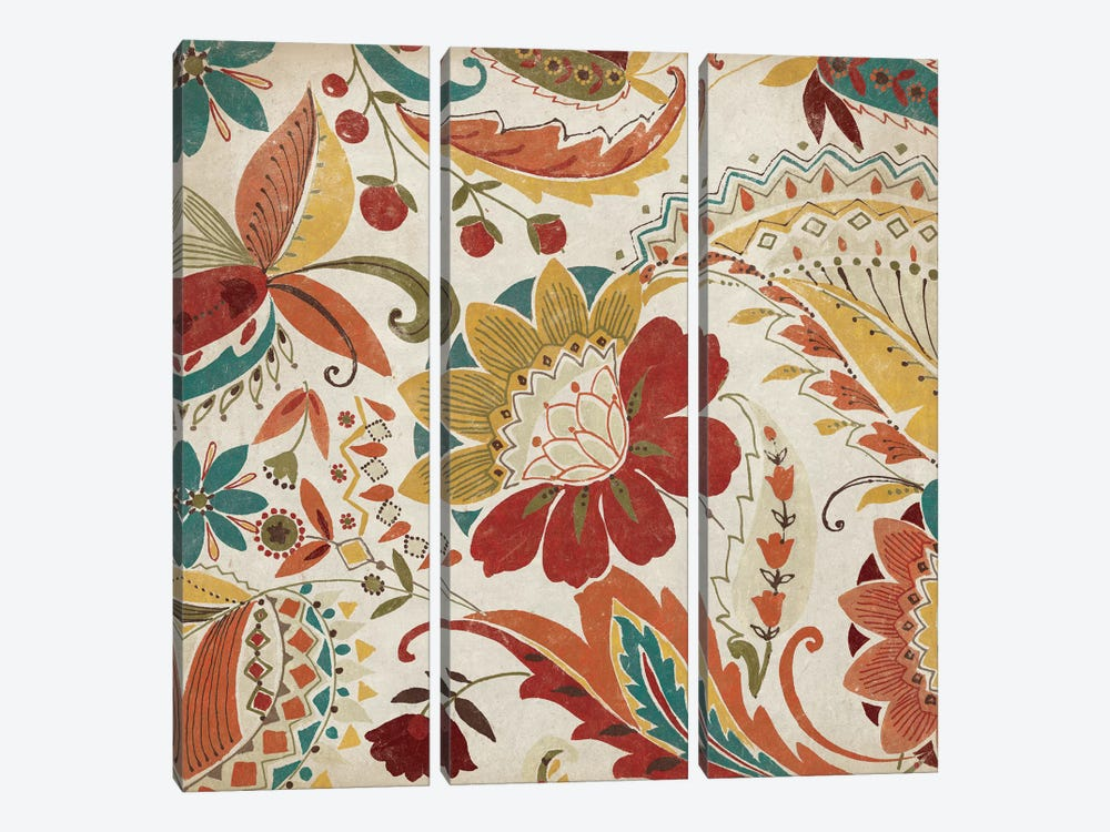 Boho Paisley Spice II by Wild Apple Portfolio 3-piece Canvas Art
