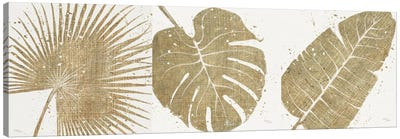 Gold Leaves Triptych Canvas Print #WAC3HSET022