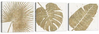 Gold Leaves Triptych Canvas Art Print