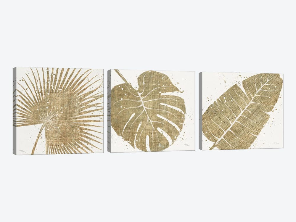 Gold Leaves Triptych 3-piece Canvas Art