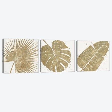 Gold Leaves Triptych Canvas Print Set #WAC3HSET022} by Wellington Studio Canvas Art