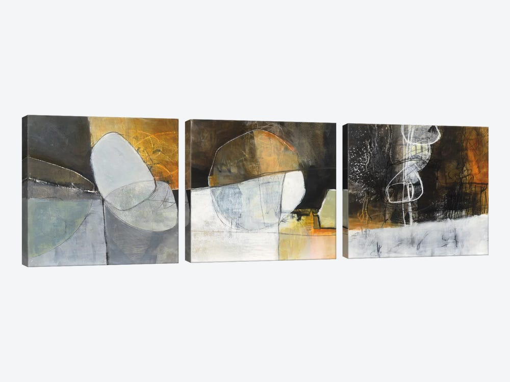 Abstract Pebble Triptych by Jane Davies 3-piece Canvas Print