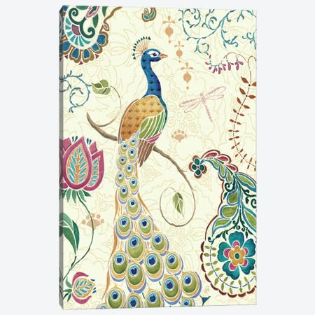 Peacock Fantasy II  Canvas Print #WAC401} by Daphne Brissonnet Canvas Art
