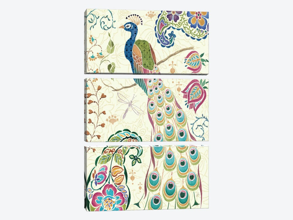 Peacock Fantasy III  by Daphne Brissonnet 3-piece Canvas Art Print