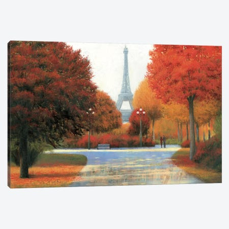 Autumn In Paris Couple Canvas Print #WAC4036} by James Wiens Canvas Art Print
