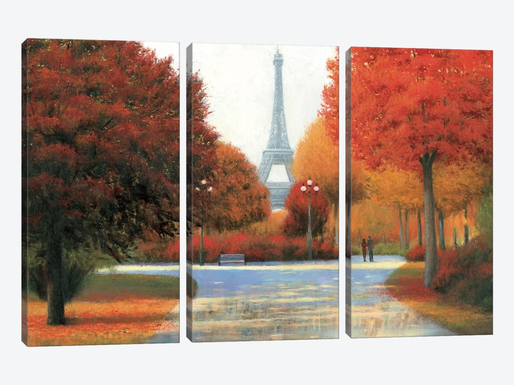 Autumn In Paris Couple by James Wiens 3-piece Canvas Print