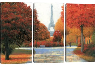 Autumn In Paris Couple Canvas Art Print