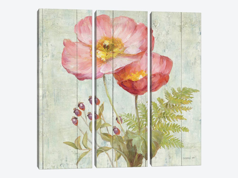 Natural Floral IV by Danhui Nai 3-piece Canvas Art Print