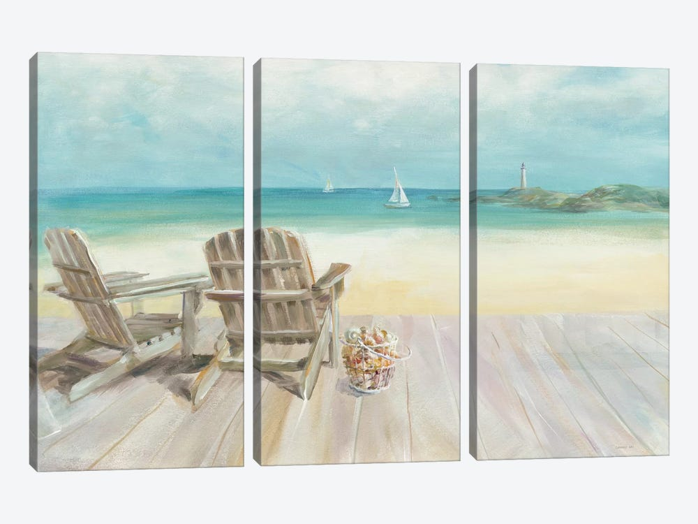 Seaside Morning No Window by Danhui Nai 3-piece Canvas Artwork