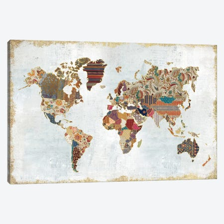 Pattern World Map Canvas Print #WAC4177} by Laura Marshall Canvas Artwork
