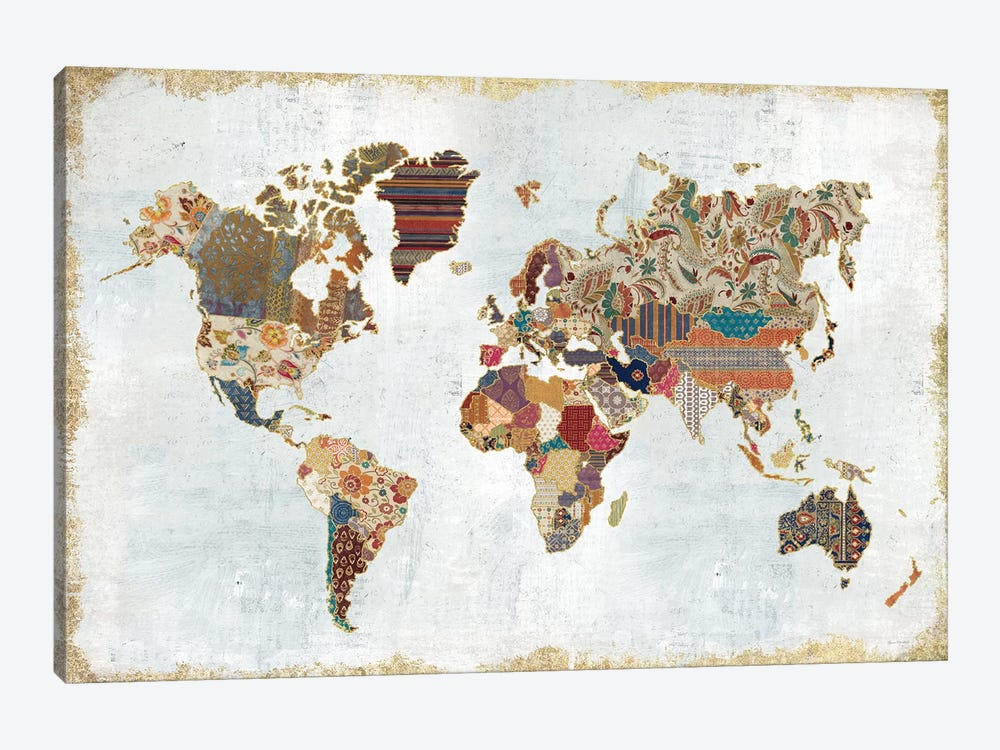 Pattern World Map by Laura Marshall 1-piece Canvas Art Print
