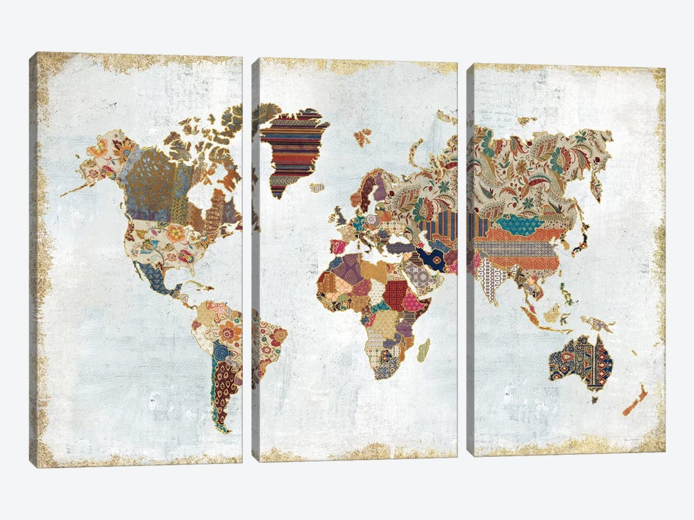 Pattern World Map 3-piece Art Print