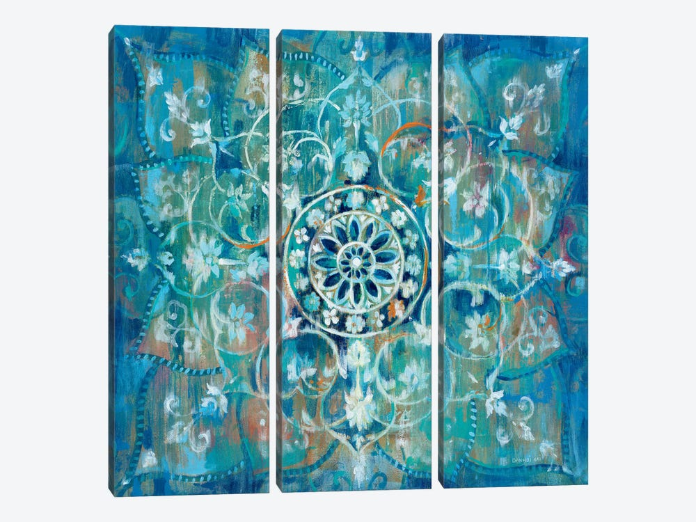 Mandala in Blue I by Danhui Nai 3-piece Canvas Print