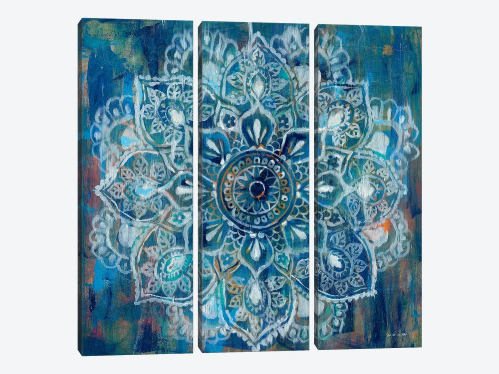 Mandala in Blue II by Danhui Nai 3-piece Canvas Wall Art