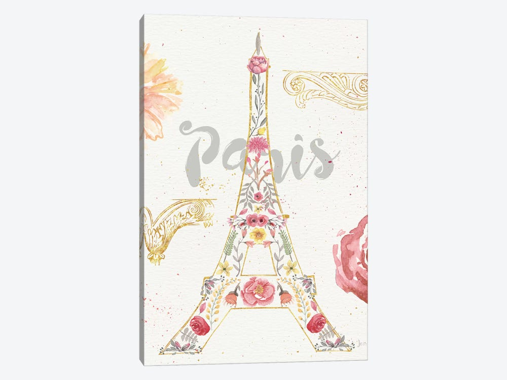 Paris Blooms I by Jess Aiken 1-piece Canvas Artwork