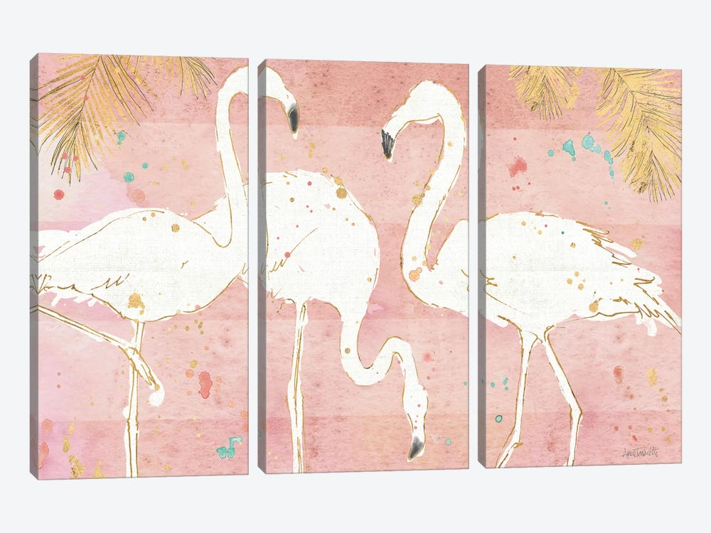 Flamingo Fever IV by Anne Tavoletti 3-piece Canvas Artwork