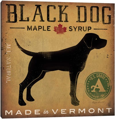 Black Dog Maple Syrup Canvas Art Print