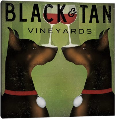 Black & Tan Vineyards (Doberman Pinschers) Canvas Art Print