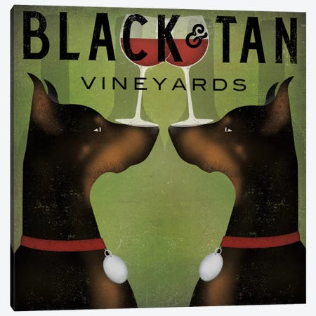 Black & Tan Vineyards (Doberman Pinschers) Canvas Print #WAC4241} by Ryan Fowler Art Print