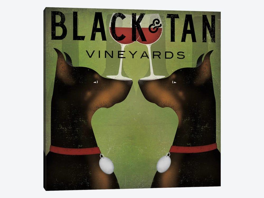 Black & Tan Vineyards (Doberman Pinschers) by Ryan Fowler 1-piece Canvas Wall Art