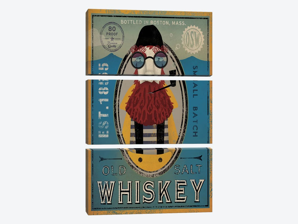 Old Salt Whiskey (Fisherman IV) by Ryan Fowler 3-piece Canvas Wall Art