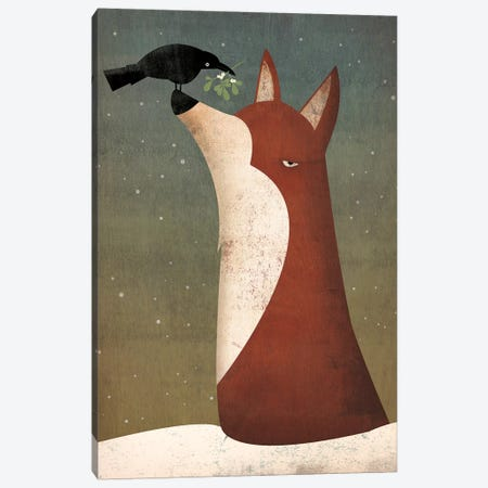 Fox And Mistletoe Canvas Print #WAC4245} by Ryan Fowler Canvas Artwork