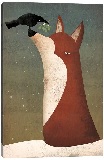 Fox And Mistletoe Canvas Art Print