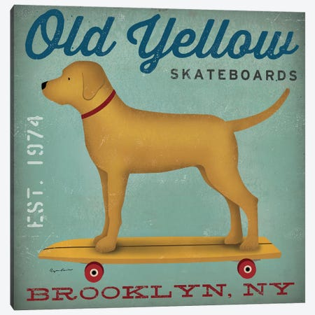 Golden Dog On Skateboard Canvas Print #WAC4247} by Ryan Fowler Canvas Artwork