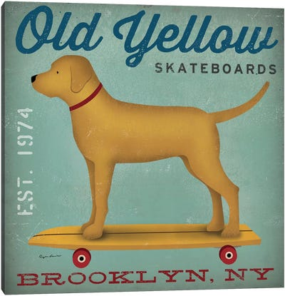 Golden Dog On Skateboard by Ryan Fowler Canvas Artwork