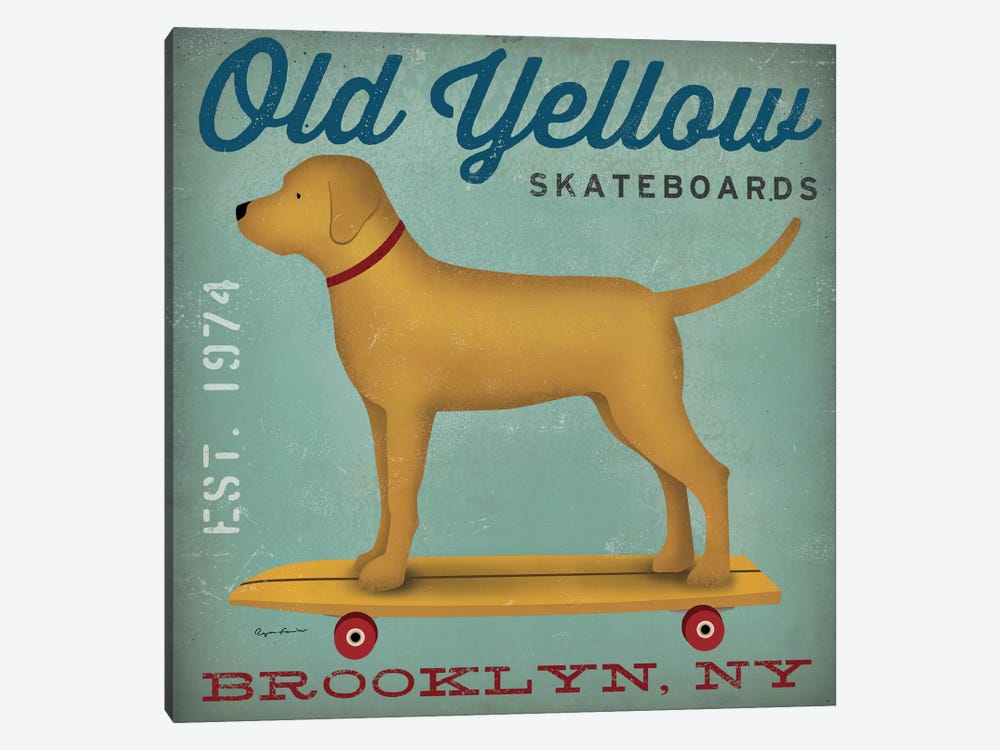 Golden Dog On Skateboard by Ryan Fowler 1-piece Canvas Artwork