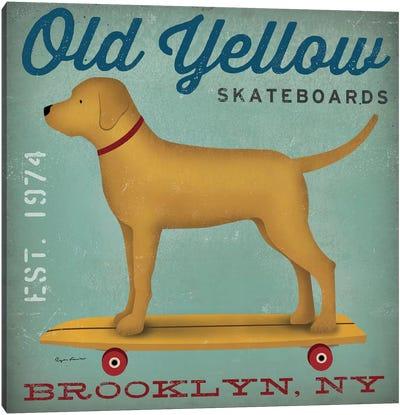Golden Dog On Skateboard Canvas Art Print