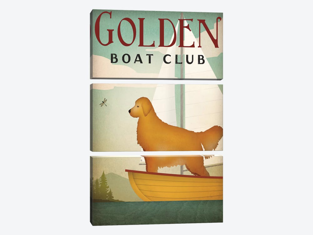 Golden Boat Club by Ryan Fowler 3-piece Canvas Print