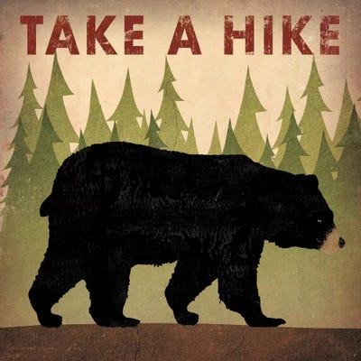 Take A Hike (Black Bear) Canvas Wall Art by Ryan Fowler | iCanvas