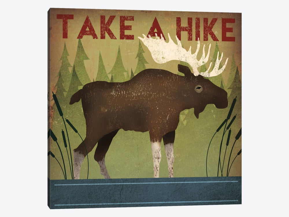 Take A Hike (Moose) by Ryan Fowler 1-piece Canvas Wall Art