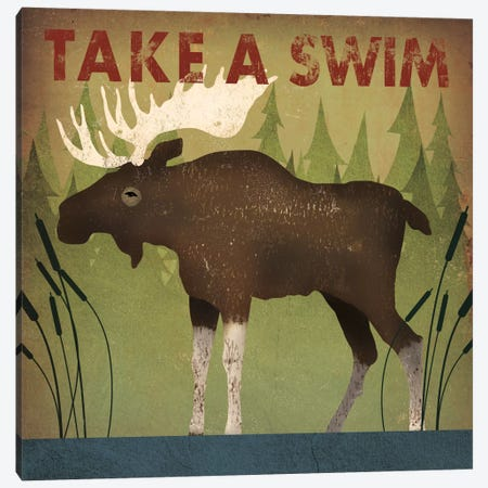Take A Swim (Moose) Canvas Print #WAC4259} by Ryan Fowler Canvas Artwork