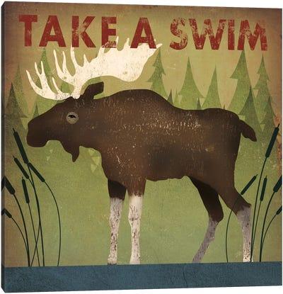Take A Swim (Moose) Canvas Print #WAC4259
