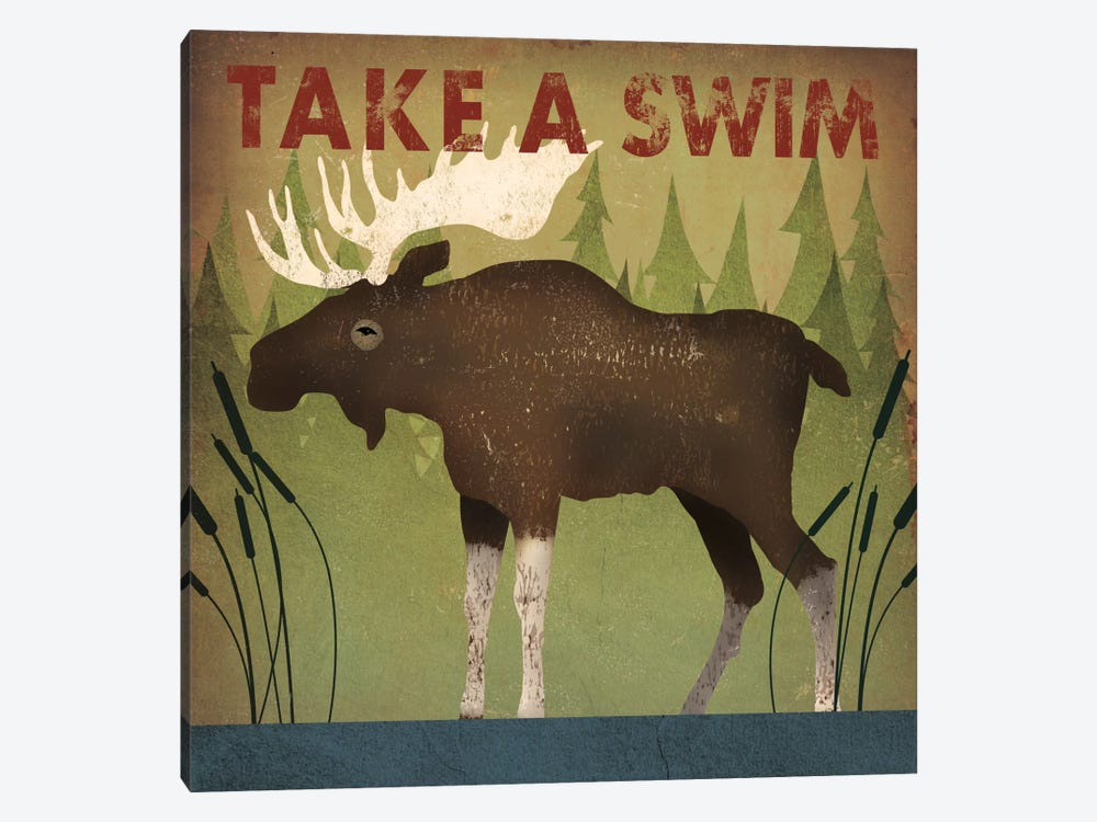Take A Swim (Moose) by Ryan Fowler 1-piece Canvas Print