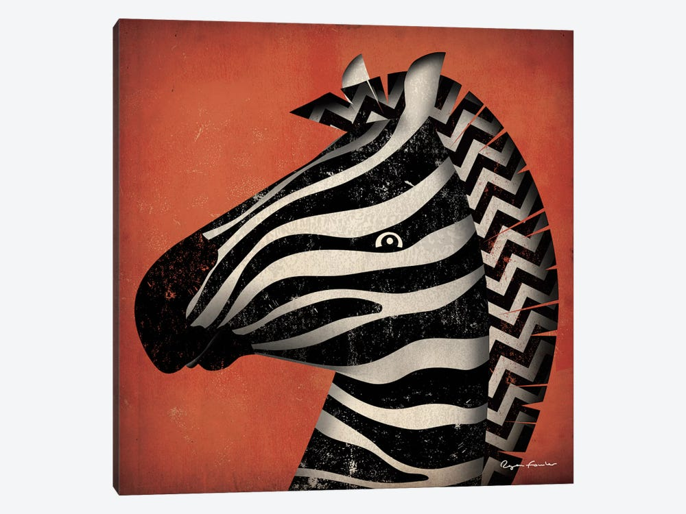 Zebra WOW by Ryan Fowler 1-piece Canvas Print