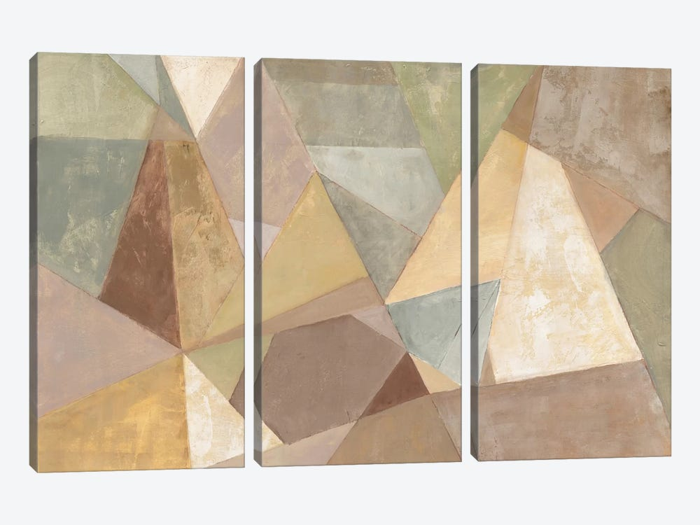 Geometric Abstract Neutral by Silvia Vassileva 3-piece Canvas Wall Art