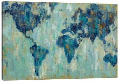 Map Of The World by Silvia Vassileva Canvas Art Print