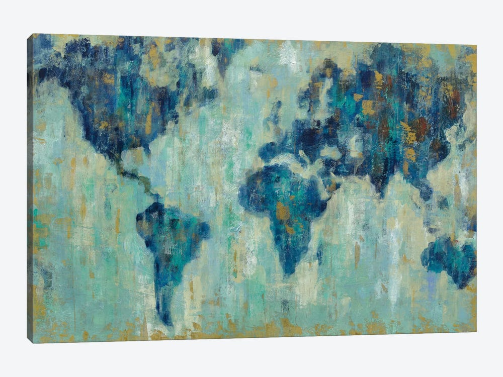 Map Of The World by Silvia Vassileva 1-piece Canvas Art