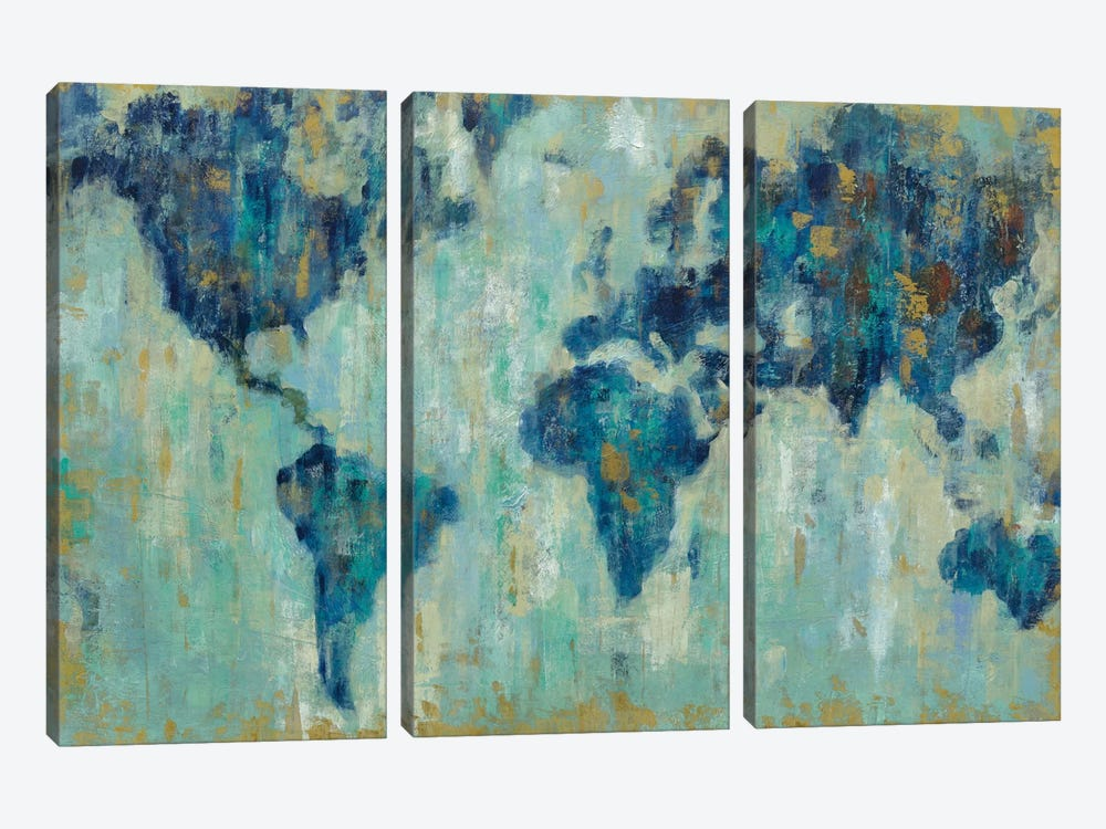 Map Of The World by Silvia Vassileva 3-piece Canvas Artwork