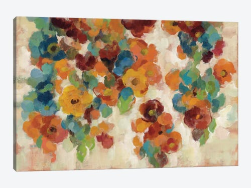 Spice And Turquoise Florals Canvas Print By Silvia Vassileva Icanvas