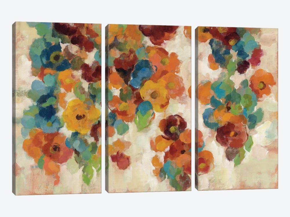 Spice And Turquoise Florals by Silvia Vassileva 3-piece Canvas Print