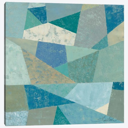 Teal Geo Metric Canvas Print #WAC4290} by Silvia Vassileva Canvas Wall Art