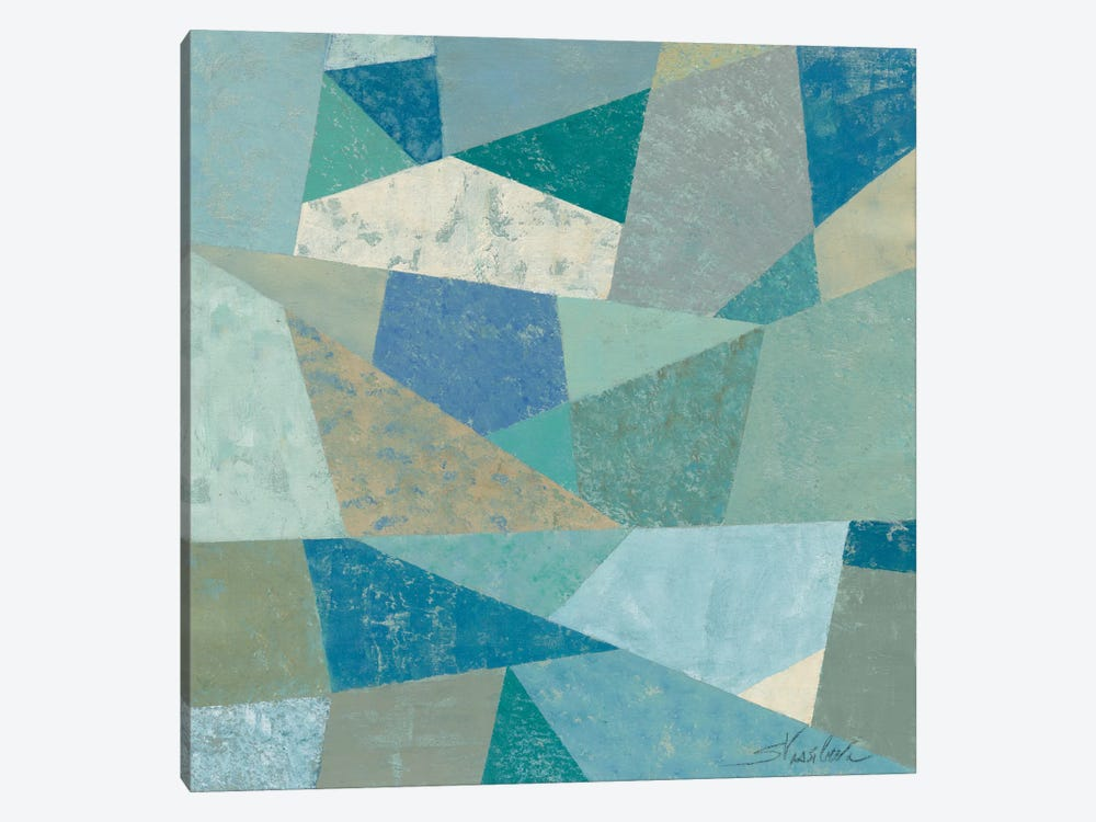 Teal Geo Metric 1-piece Canvas Wall Art