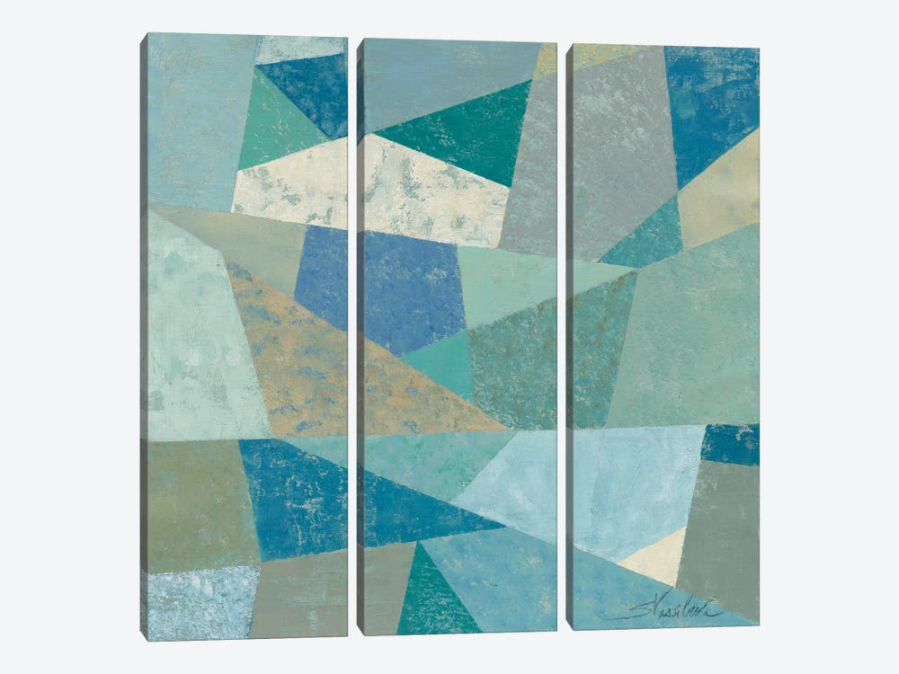 Teal Geo Metric by Silvia Vassileva 3-piece Canvas Artwork