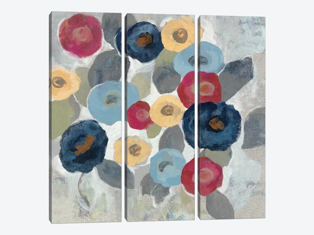 Winter Flowers II by Silvia Vassileva 3-piece Canvas Wall Art