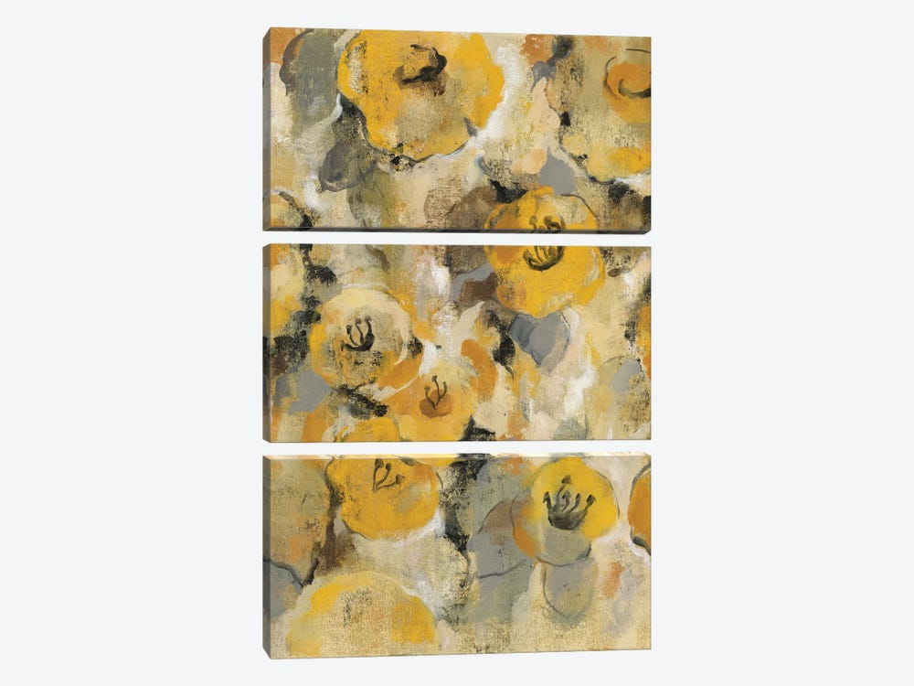 Yellow Floral II by Silvia Vassileva 3-piece Canvas Print